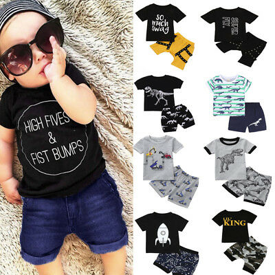 2Pcs Toddler Kid Baby Boy Shirt Print Tops T shirt+Shorts Outfits Set Pants US