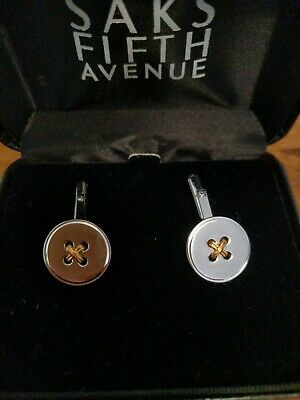 Vintage WEH Cufflinks in 14k Gold and Sterling Silver Button - Walter E. Hayward