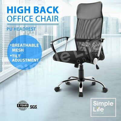 Executive Office Chair Mesh Breathable Computer Chair Armchair High Back Black