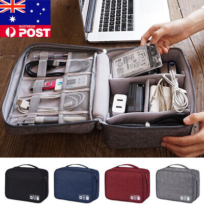 Portable Travel Zipper USB Cable Storage Bag Organizer Oxford Phone Charger Case