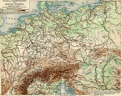 Alps Danube Central Europe Rivers Mountains Topographic Antique Map 19th century