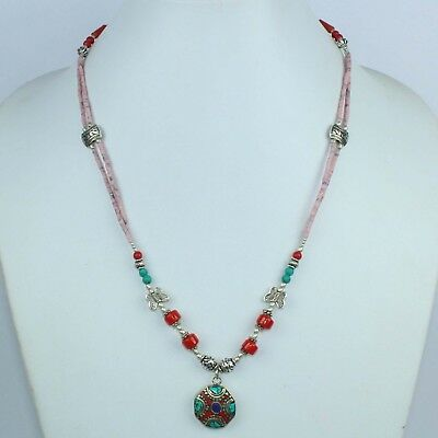 Handmade Red Coral,Turquoise & Lapis Lazuli Antique Nepali Necklace NN-9712
