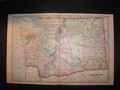 1908 Washington State Map from Cram's Atlas Map 14 inch x 23 inch Color M36