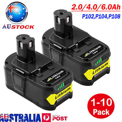 6.0AH 4.0AH 2.0AH 18V Battery For Ryobi P108 P104 ONE+ Plus P103 P105 P107 P102
