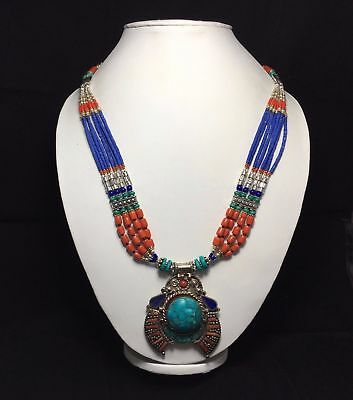 Natural Tibetan Lapis Lazuli & Turquoise, Red Coral Antique Pendant Set NN-9014