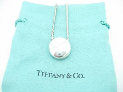 """Tiffany & Co. Sterling Silver Round Letter J Pendant Snake Chain Necklace 15"""""""