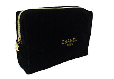 014bd1cc280f89 CHANEL MAKEUP BEAUTY Cosmetic Black Bag CC Case Pouch Vip Gift ...