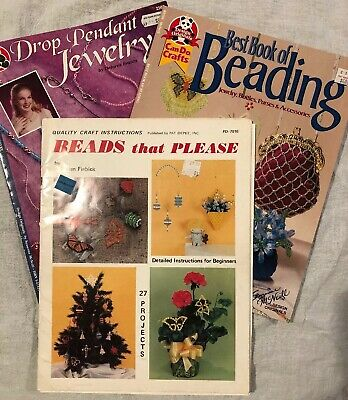 Beading Pattern Instructions Lot Of 3 Crafts Jewelry Necklace Artwork Vintage