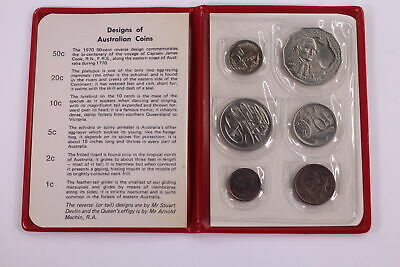 1970 Australian Mint Set Of Coins With Captain Cook 50 Cent In Red Wallet