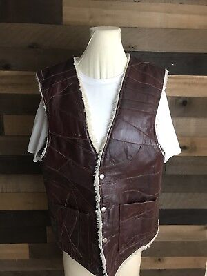 IDM Men's Sleeveless Suede Leather Button Front Brown 1970's Sherpa Vest Jacket