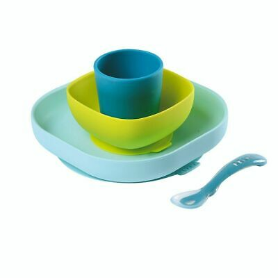 NEW Beaba 4 Piece Silicone Suction Meal Set - Blue