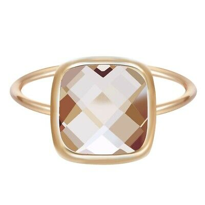 Big Champagne Stone Square Ring Charm Golden Fashion Jewelry for Women Party