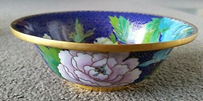 Antique Japanese Cloissone  Flower/Bird Bowl