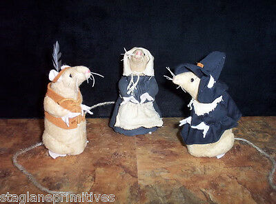 """Cute 5"""" tall Thanksgiving Pilgrim & Indian Mice Mouse Sewing Pattern Holiday"""