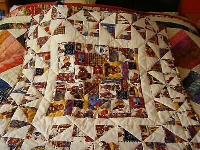 Handmade Quilted Patchwork Baby Quilt Cot / Pram Teddy Bear Theme