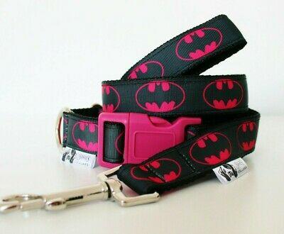 Pink Batman Dog Collar or Matching Lead or Seat Belt Puppy Marvel Superhero