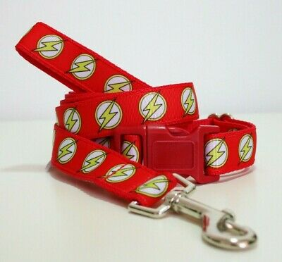 The Flash Dog Collar or Matching Lead or Seat Belt Puppy Marvel Superhero Red