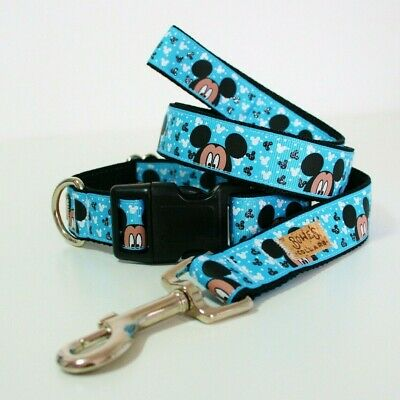 Mickey Mouse Dog Collar or Matching Lead or Seat Belt Puppy Black Blue Disney
