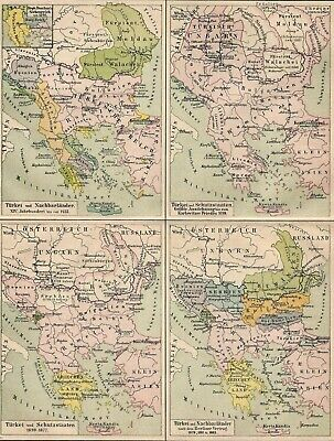 Turkey Ottoman Empire European Territories Evolution Antique Map 19th century