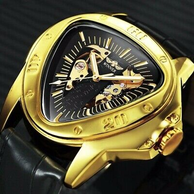 New Classical Men's Automatic Mechanical Wrist Watch Genuine Black Leather Strap