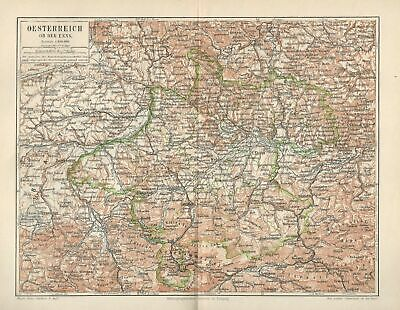 Austrian Empire Danube Physical Map Lithographic Antique Map 19th century