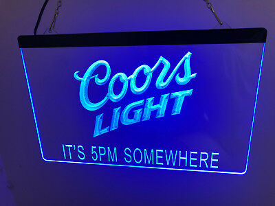 Coors light Beer It's 5PM Led Neon Sign for Game Room,Bar, Garage,US shipper