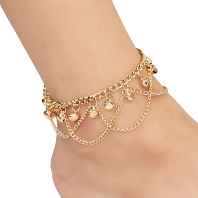 Gold Beaded Ankle Bracelet Multi Layer Womens Anklet Adjustable Chain Beach Bead