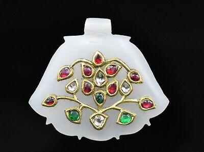 RARE MUGHAL  WHITE JADE PENDANT STUDDED WITH DIAMOND EMERALD RUBY 24Kt REAL GOLD