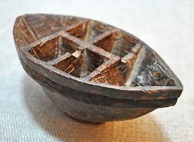 Original Old Antique Hand Carved Wooden Kitchenware Spice Container Bowl