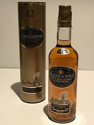 WHISKY GLENGOYNE 12 YEARS OLD BOTTLE IN BOX 75cl. RARE AÑOS 90