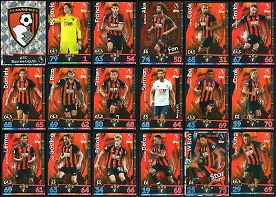Match Attax 2018/19 Afc Bournemouth 18 Card Full Complete Team Set - Base
