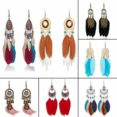 Women's Boho Fashion Long Tassel Feather Hook Dreamcatcher Dangle Drop Earrings