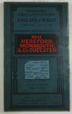 1923 Old Vintage Geographia 2 Miles to 1 Inch Road Map 12 Hereford Monmouth Glos