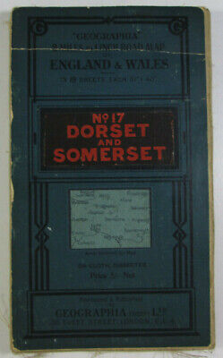 1926 Old Vintage Geographia 2 Miles to 1 Inch Road Map 17 Dorset & Somerset