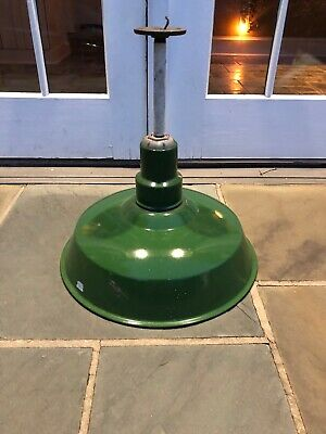 Antique Industrial Pendant Light 1900s Vintage Porcelain Enamel Green Old Shade