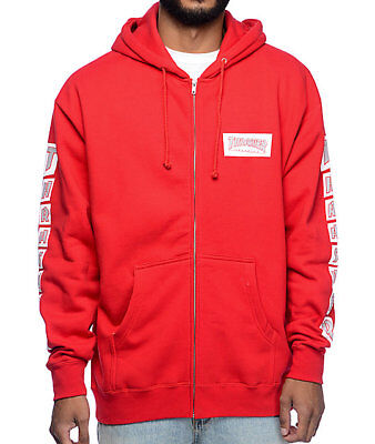 fd9340a4c9ba (NEW) THRASHER RED ZIP UP HOODIE L   Rare supreme independent dvs trucks  palace