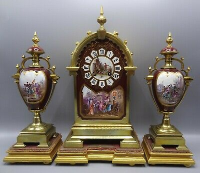 Superb 19th Century Sevres Style French Porcelain / Brass Clock Medieval Scenes