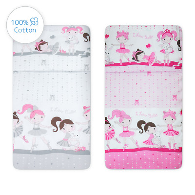2 Pc Girls Cotton Duvet Cover Pillowcase Crib/Cot/Junior Bed sizes - Ballerinas