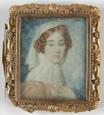 """""""Portrait of a young Lady"""", English miniature, ca. 1840"""