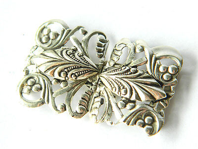 ca.1950s Vintage Metal BELT BUCKLE Nickeled Brass Skeleton Floral Design