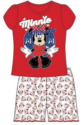 Girls Disney Official Minnie Mouse T-Shirt & Shorts Set Nightwear Pj Pyjamas New