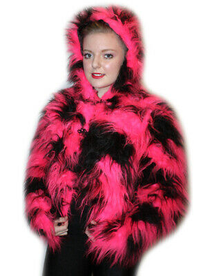 139a5121348ad Neon Fluorescent Black & Pink Ultra Fluffy Furry Hooded Short Coat Jacket  Rave