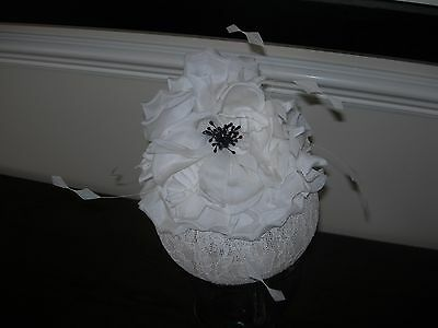 Vintage Style Wedding Loop Hair Band Fascinator Flower Feather White Ivory Lace