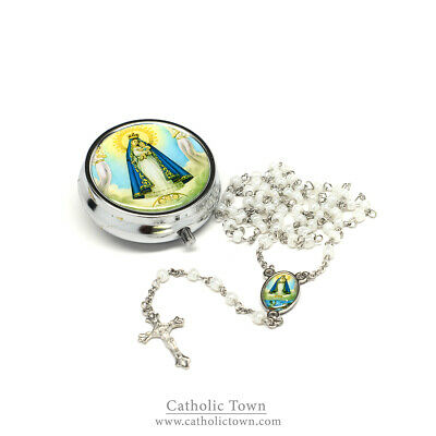 Catholic Rosary Necklace with Caridad Medal,Cross Crucifix and metal box ROSMIRC