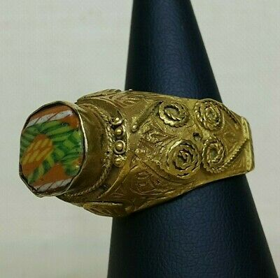 Antique Tibetan Electron ring with glass desing, 14th-16th century.