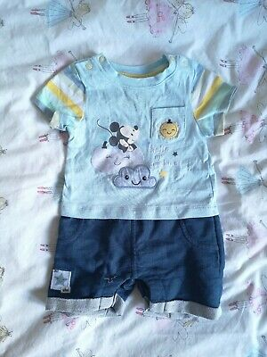 Disney Store Baby Boy Micky Mouse Summer Sun 2-In-1 Romper Age 9-12 Months
