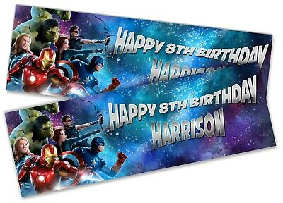x2 Personalised Birthday Banner Avengers Children Kids Party Decoration Poster 5
