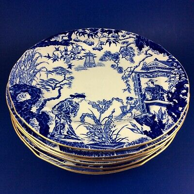 "Royal Crown Derby Blue Mikado 8"" Bone China Salad Plate - 8 Available"