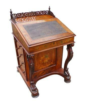 Victorian Burr Walnut and Marquetry Davenport