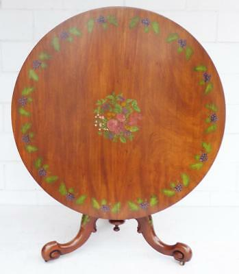 Victorian Satin Birch Hand Painted Circular Table